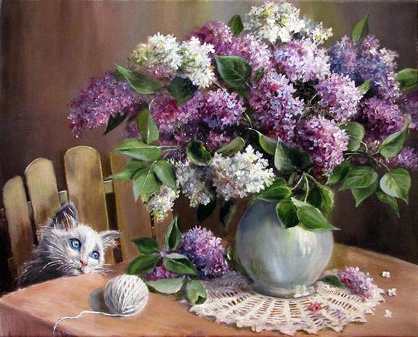 Les lilas de mamietitine ont hypnotis son chat joyeux for Bouquet de fleurs lilas